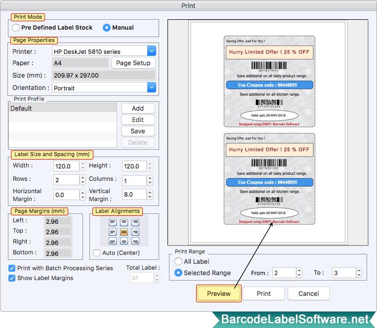 Screenshots of Mac Barcode Label Software – Corporate