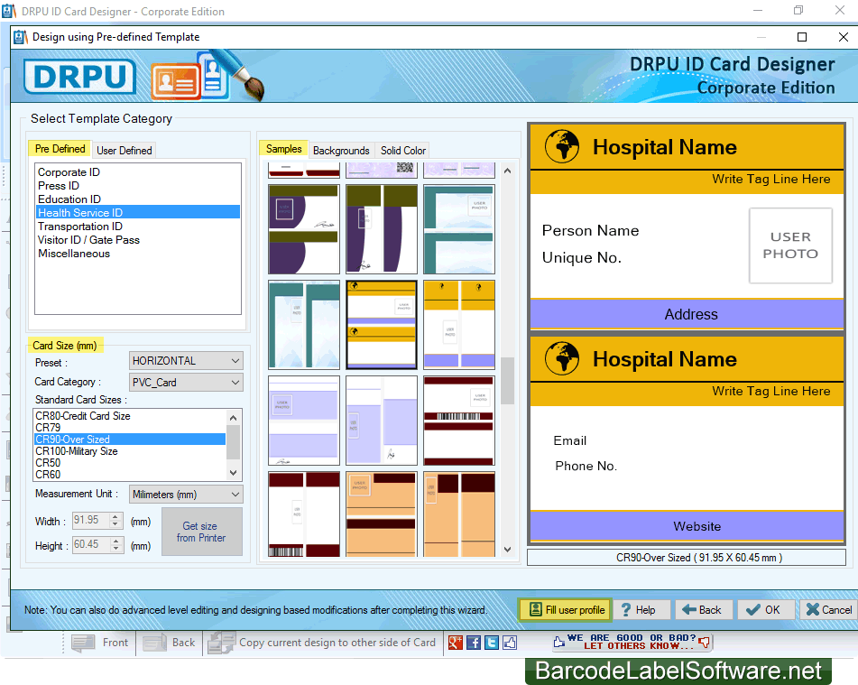 screenshots of id cards maker corporate edition to create multiple